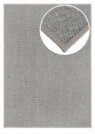 sisal teppich allegro silber mit kunstlederbordüre
