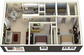 104 Two Bedroom Apartment Design 50 2 House Plans Layout House Small House Plans