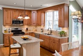 Wooden Kitchen Cabinet Refacing With Oven And Sink Faucet Under The Window Plus Chandelier