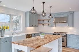 Farmhouse Kitchen With Light Blue Cabinets Single Basin Sink Viking Range And Wood
