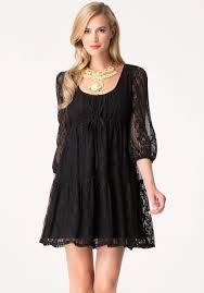 bebe lace long sleeve dress in black lyst