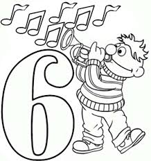 Learning Number 6 With Sesame Street Coloring Page