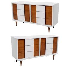 pair of mid century modern two tone cabinets at 1stdibs