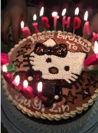 Chocolate birthday cake with cat cartoon figure and candles JPG