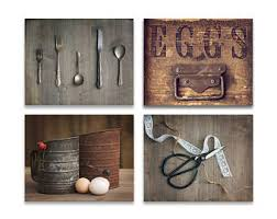 Rustic Kitchen Decor Set Of 4