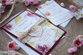 Watercolor Wedding Invitation Burgundy Invite Lace Floral Romantic Rustic Spring