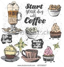 Vector Illustration Handmadea Cup Of Coffee Iced Latte