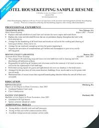 Resume Template Hospitality Industry Hotel Housekeeping Sample Limited Examples