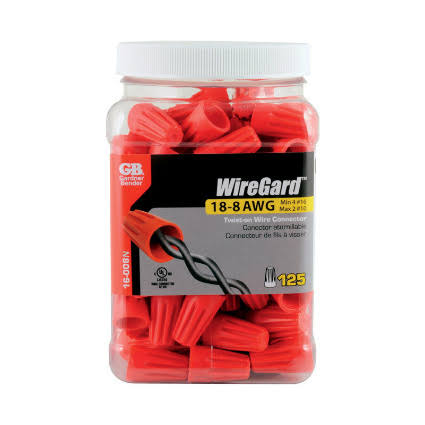 Gardner Bender Wiregard Wire Connector - Red, x125, 18-8 AWG