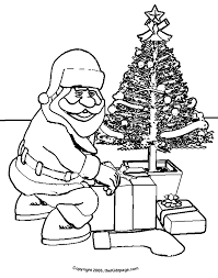 Santa Claus Christmas Tree Free Coloring Pages For Kids