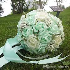 2017 Mint Green Pearls Wedding Bouquets with Wrist Corsage Gift