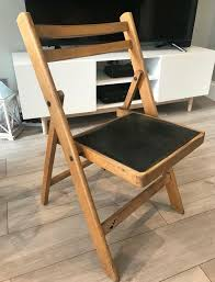 Lovely Vintage Retro Folding Chair With Black Vinyl Seat Good Condition! |  In Streatham, London | Gumtree
