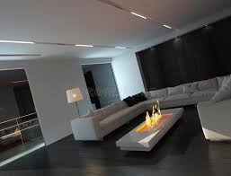weißer wohnzimmerinnenraum mit kamin nachts stock abbildung