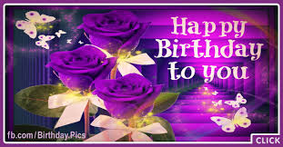 Three Purple Roses Happy Birthday Card for celebrating