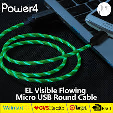 El Led Light Up Mfi Auxiliary Micro Usb Cable For Iphone Led Cable