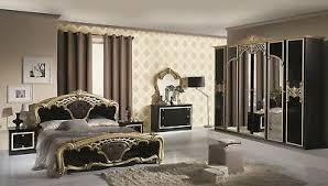 schlafzimmer elisa in schwarz gold 6 türig luxus