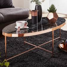 wohnling design couchtisch marmor optik schwarz oval 110 x 56 cm mit kupfer metallgestell großer wohnzimmertisch lounge tisch