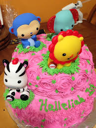 Baby girl first birthday cake by Debbie Tabora animal cake 2017
