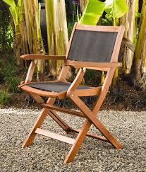 Folding Patio Chairs: Wood Armchairs, Mesh Seat & Back ...