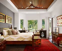 Asian Bedroom Interior Design Ideas Featuring Marvelous Gray Accent Wall And Red Turkish Rug Plus Simple Solid Wood Bed