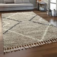 shaggy teppich hochflor beige wohnzimmer weich skandi design rauten fransen