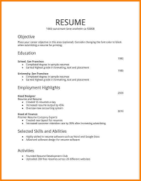 First Job Resume Template Example