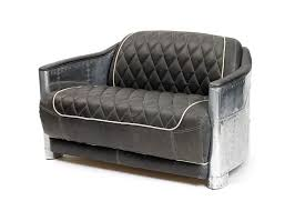 Hipster Leather Sofa Riveted Steel And Cigar Color 12543