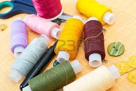 Sewing Supplies Thread Scissors Buttons Stock Picture