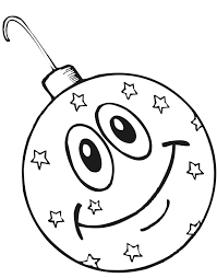 Printable Christmas Coloring Page Of A Smiling Ornament