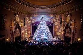 Singing Christmas Tree Tacoma by 3d Christmas Tree Blue Background Desktop Wallpaper Christmas Ideas