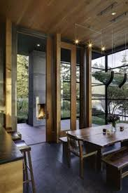 Love The Windows And Tall Sliding Doors Leading To Outdoor Fireplace Great Blend Of Indoor Living Space