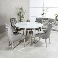 1.3m Circular Louis Polished Steel Dining White Glass Table Set With 4 Grey  Brushed Velvet Dining Chair