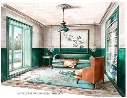 Toshis Living Room by Interior Sketch Of The Living Room эскиз интерьера гостиной