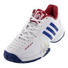 adidas men u0027s novak pro tennis shoes white and royal blue