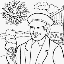 Lazy Leisure Eating Ice Cream Beneath The Sun Simple Play School Color Pages To Print Coloring