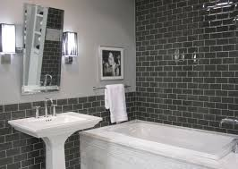 grey glass subway tile with white marble tub surround my work