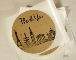 Rustic Travel Themed Thank You Stickers