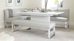 100 White Gloss Extending Dining Table And Chairs Sanza And Loop 7 Seater Right Hand Corner Bench