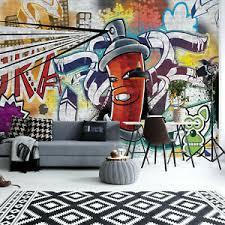 details about tapete fototapete für wohnzimmer judendzimmer graffiti straßenkunst