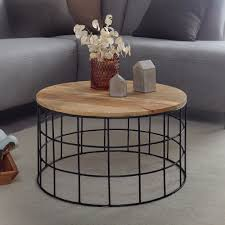 finebuy design couchtisch 60x35x60 cm mango massivholz metall sofatisch wohnzimmertisch rund salontisch massiv kleiner tisch wohnzimmer