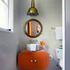 Royal Naval Porthole Mirrored Medicine Cabinet Uk by Gray Kids Bathroom With Gray Hex Tile Walls Contemporary Bathroom