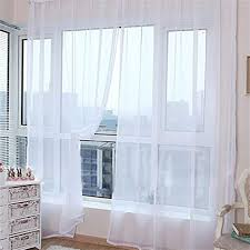 de 2 einfarbige transparente vorhang gardine voile