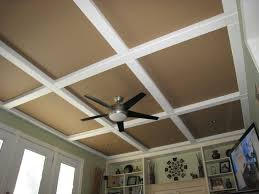 Affordable Basement Ceiling Ideas by Hubby Got This Idea From A Magazine Panels And Beams Of Mdf Cover