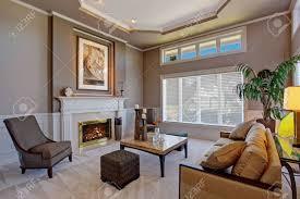 luxury gemütliches wohnzimmer mit kamin braune und palme