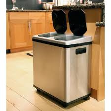 ITouchless 16 Gallon Dual Compartment Stainless Steel Kitchen Recycle Bin Trash Can Me