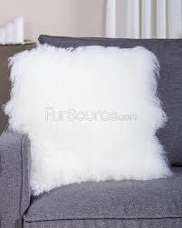 Ivory White Mongolian Lamb Fur Pillow Cushion FurSource