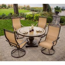 Patio Furniture Conversation Sets Home Depot by Hanover Monaco 5 Piece Patio Outdoor Dining Set Monaco5pcsw The