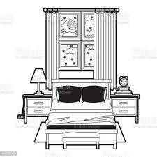 schlafzimmer mit fenster in die nacht landschaft schwarz abschnitt silhouette auf weißem hintergrund stock vektor und mehr bilder