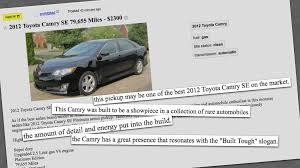 This Craigslist Spam Ad For A $2,300 Toyota Camry Is A Work Of ...