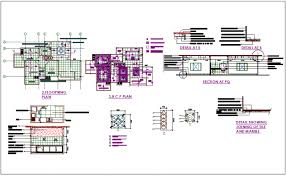 3 BHK Flat Flooring Plan With RC Plansection View Of Washing Areamarble Detail